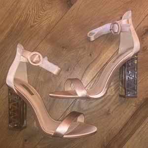 Champagne Pink Satin Ankle Strap Heels